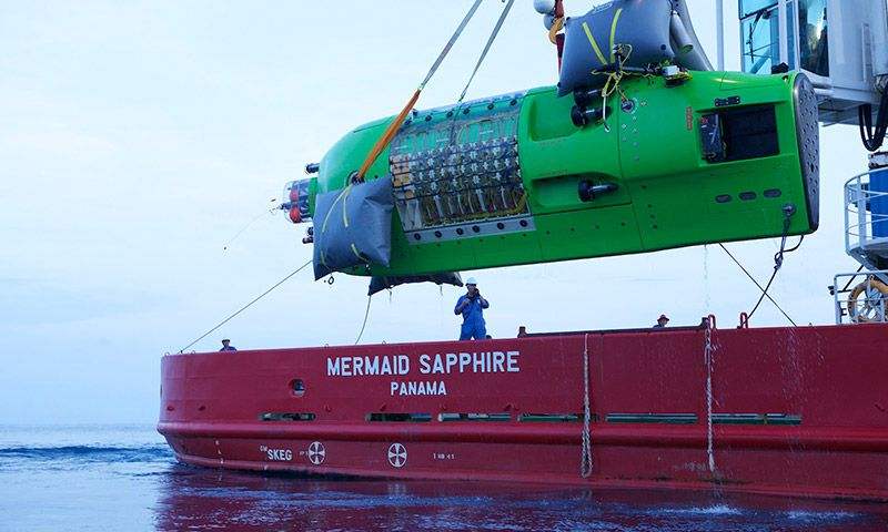 The sub is launched from the Mermaid Sapphire.