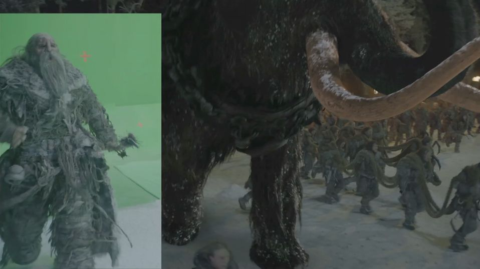 MPC incorporated greenscreen footage of the giants into their shots.