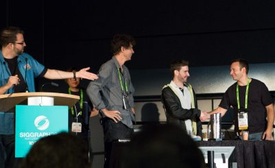 Paul Debevec (right) invited researcher Ari (right) on stage to celebrate his digital double Ira