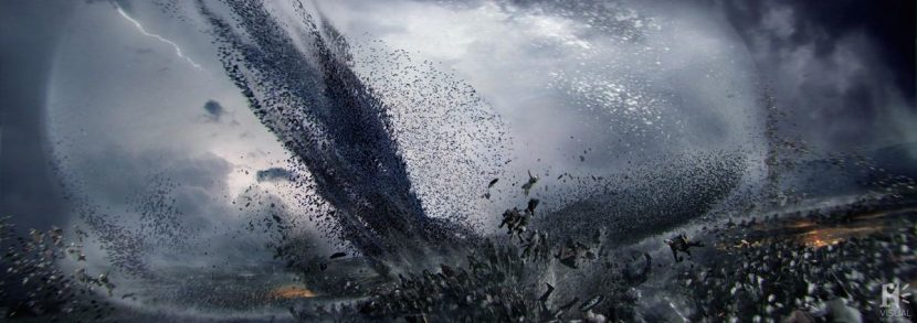 Further concept art for the wave of bats forming a shockwave