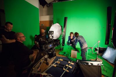 Setting up to film Chrissie Hynde.