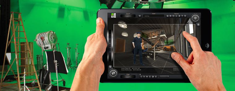 An image from the ZEUS Scout website. The app lets you previs virtual sets and do live greenscreen composites.