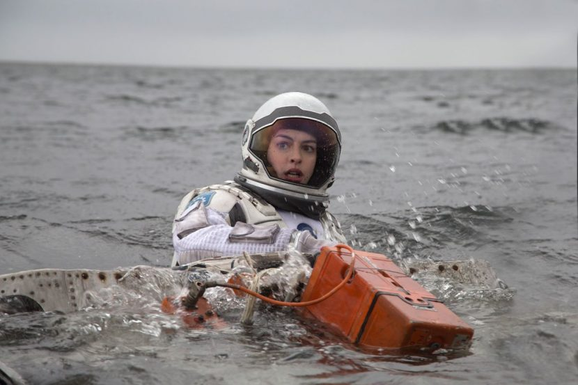 Anne Hathaway as Amelia on the water planet.
