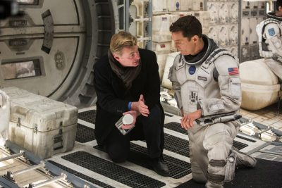 Interstellar director Christopher Nolan with Matthew McConaughey.