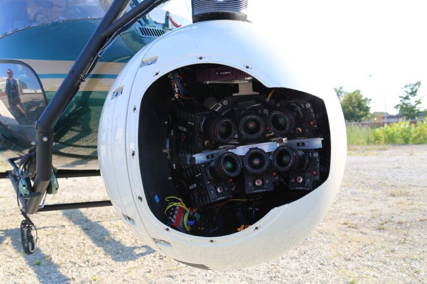 The Multi-Cam Array inside an Eclipse helicopter mount from Pictorvision.