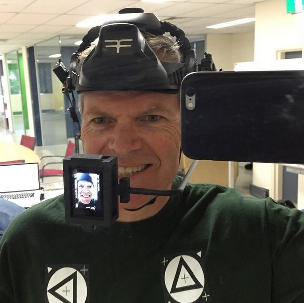 Donning the helmet for fxguide's test drive (see below).