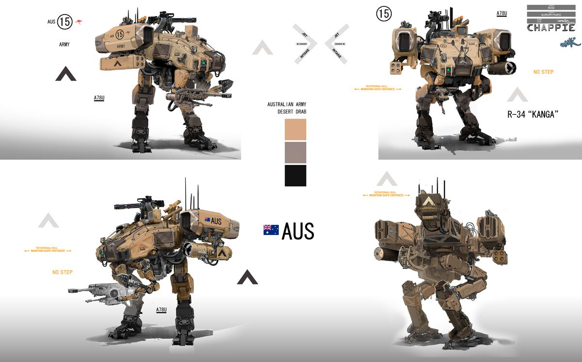 The practical and digital tech behind chappie fxguide weta workshop moose designs malvernweather Choice Image