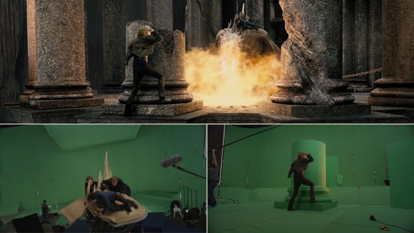 Live action and final shots of the Gringotts dragon sequence.