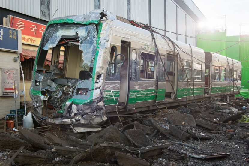 Train destruction from on-set.