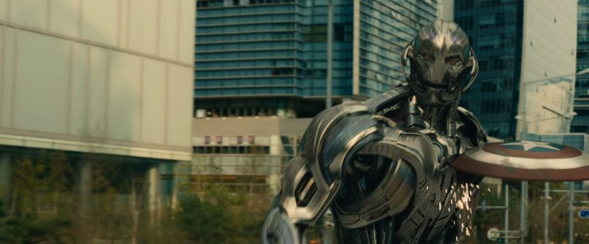 Ultron fights Captain America atop a truck in Seoul.