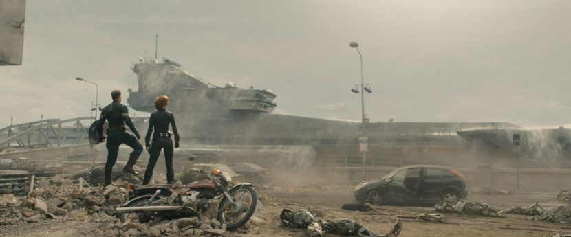 The Helicarrier arrives to help evacuate residents of Sokovia.