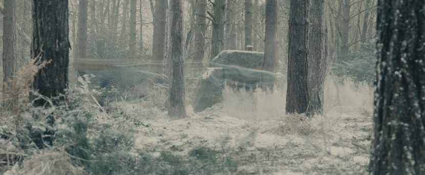 The team first encounter Quicksilver in a wintery forest.