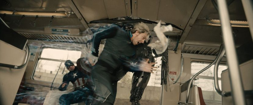 Quicksilver helps out Cap during the train sequence.