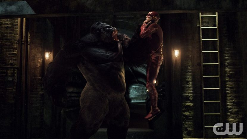 Grodd and The Flash battle it out.