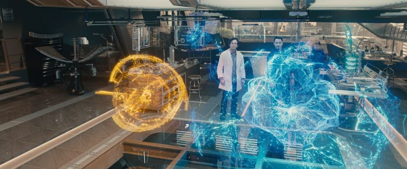 J.A.R.V.I.S. and Ultron holograms.