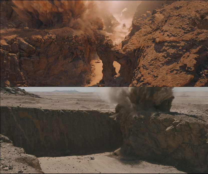 Quarry location explosion before and after.