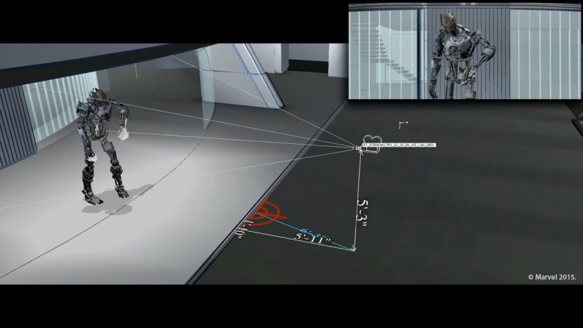Technical mockup exploring camera coverage angles for Ultron's monologue during the party fight.