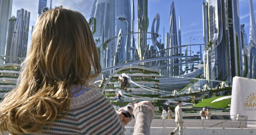 Casey finally arrives in the middle of Tomorrowland.