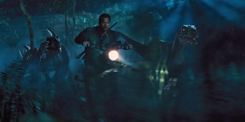 Owen rides with the Velociraptors.