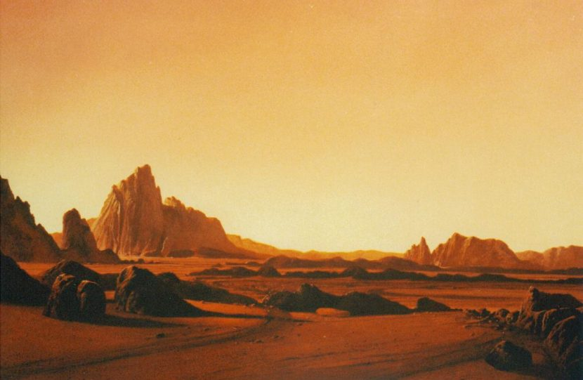 Martian landscape matte painting completed at Dream Quest. Image courtesy Shawn Broes.