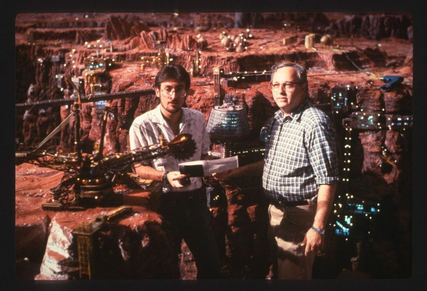 Eric Brevig (left) and Alex Funke in the miniature Mars set. Image courtesy Eric Brevig.