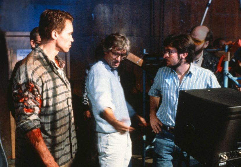 From left: Arnold Schwarzenegger, Paul Verhoeven and Eric Brevig on the set of Total Recall. Image courtesy Eric Brevig.