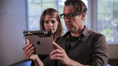 John Gaeta with the Ipad view incorporating the Structure Sensor which is scanning the room John is in.