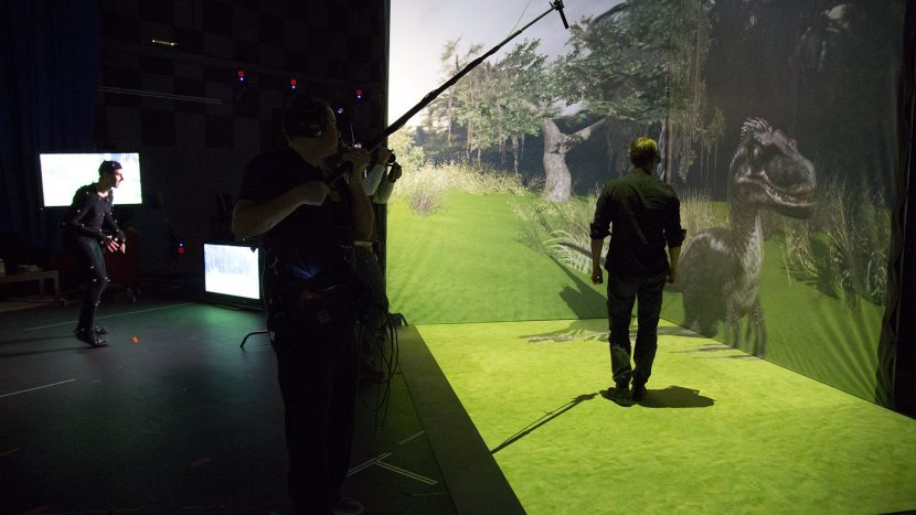 Note John is being head tracked for the correct projection, and the dyno is being rendered from a real time Vicon motion capture (left)