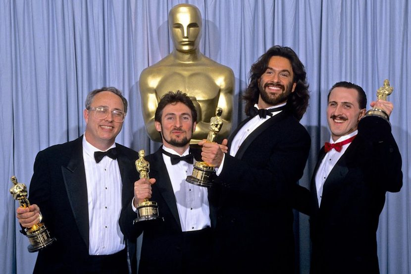 From left: Alex Funke, Eric Brevig, Rob Bottin and Tim McGovern at the Oscars. Image courtesy Tim McGovern.