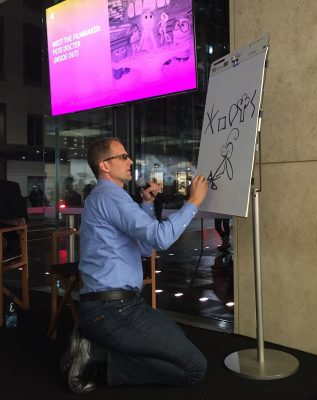 Director Pete Docter explaining the fundamental shapes of the 5 emotions in Sydney this week