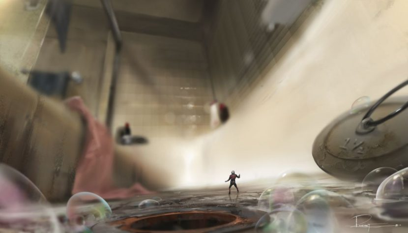 Concept art for the bathtub shot.