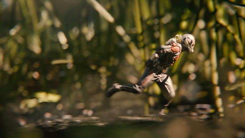 Ant-Man runs through grass.