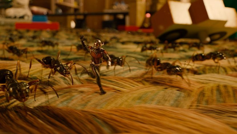 Ant-Man and his ant friends in a bedroom scene towards the end of the film.