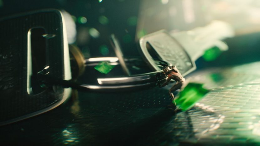 Ant-Man and Yellowjacket fight inside a falling briefcase.