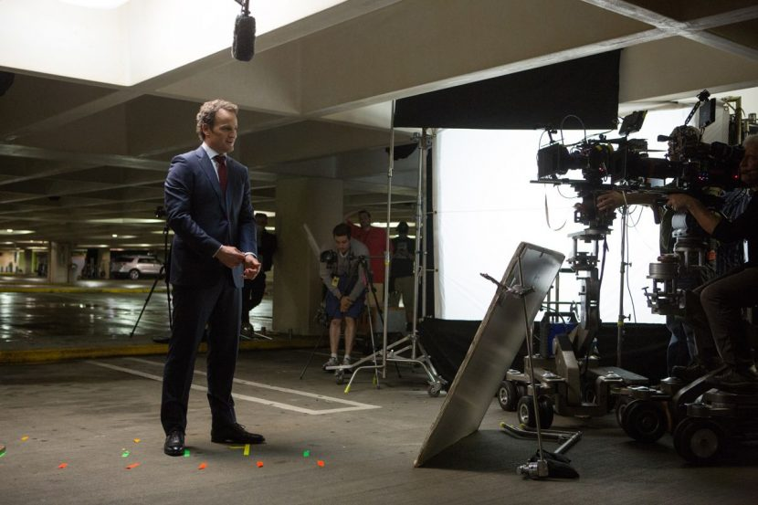 Jason Clarke on set.
