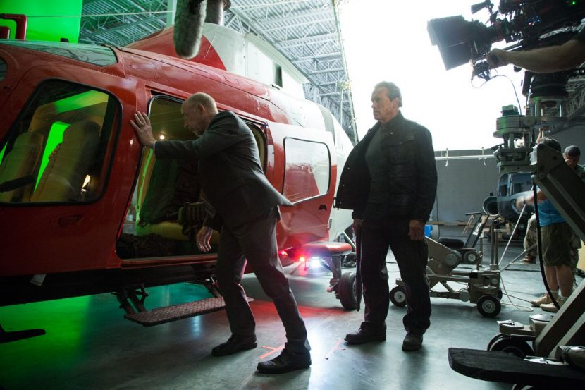 On-set shoot with the helicopter.
