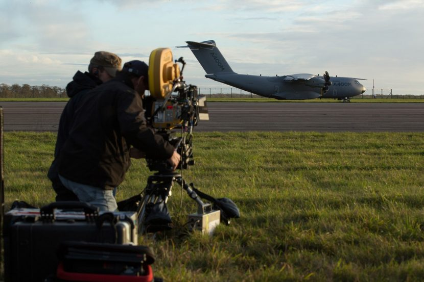 The A400M sequence is captured by a film crew.