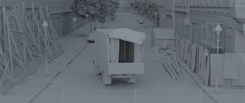 Gray shaded escape truck.