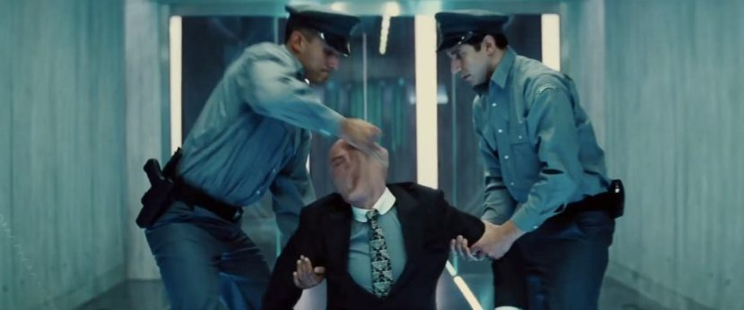 In this screenshot from the film's trailer, Benji is revealed to be posing as a businessman to get into the nuclear facility.