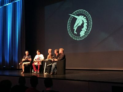 The VFX War Stories panel - from left, Scott Ross, Kevin Mack, David Prescott, Shane Mahan.