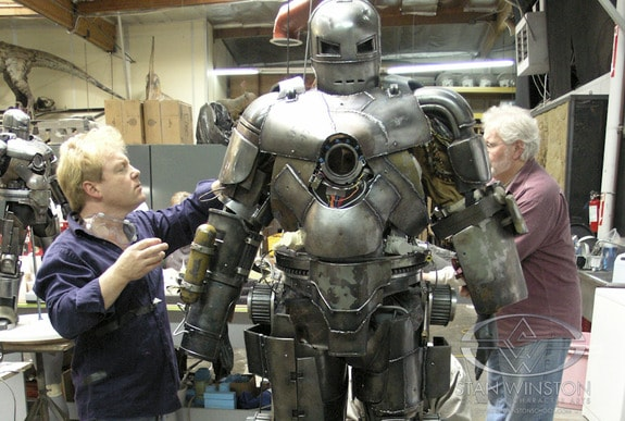 Mahan and the Mark I suit from the first Iron Man film.