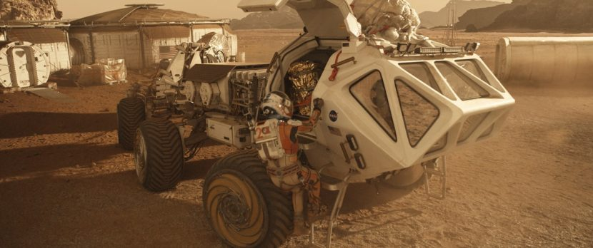 Watney gets to work on the surface of Mars.