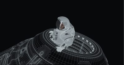 Wireframe capsule.