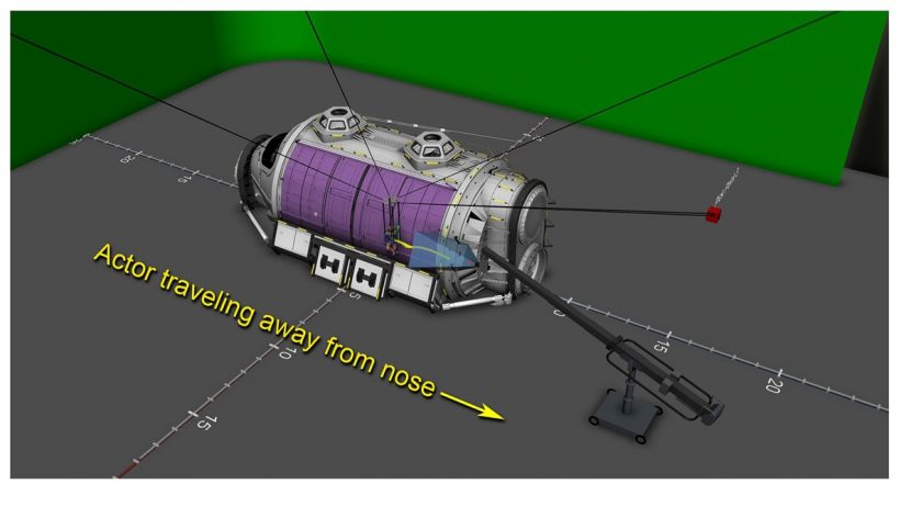 For a scene where Beck traverses the Hermes exterior, techvis was used to help determine position and paths for rigs, stunts, cameras and actors relative to sections of the ship.