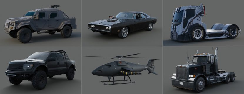 CG vehicles made for the ride film by MPC.