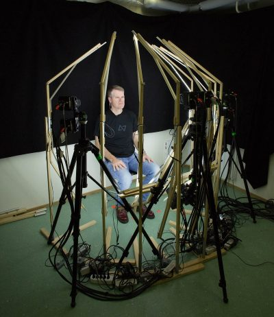 Medusa rig - this rig is both portable and lightweight. (fxguide Mike Seymour seen seated).