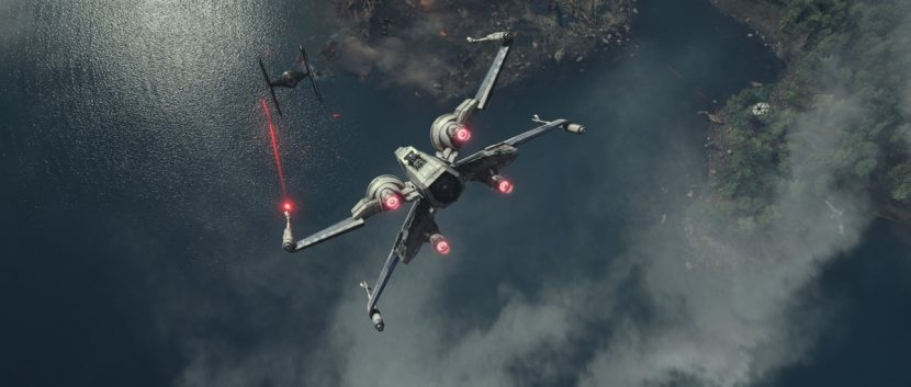 An X-Wing takes command as the battle begins.