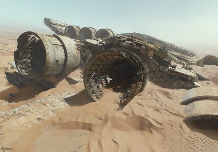 The Falcon heads into the wreckage of a Super Star Destroyer.