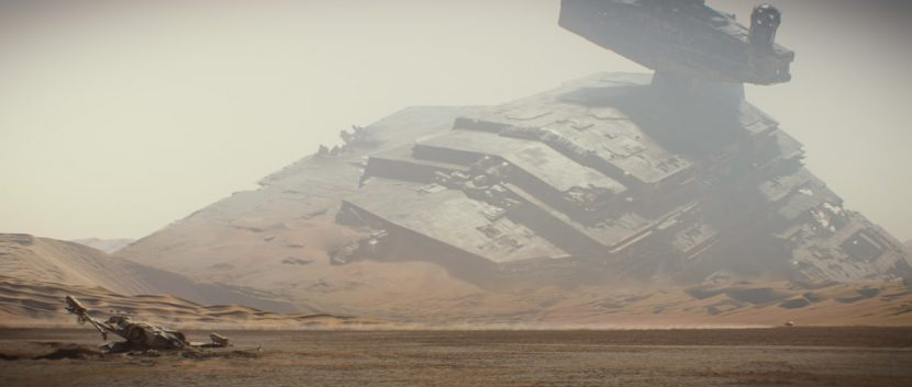 An earlier scene from the film shows a downed Star Destroyer.