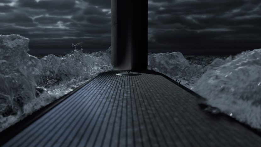 The sub descends.